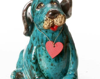 Teal Puppy Dog   Gift for Dog  Lovers   Quirky Gift   Wooden Plaque to write a message