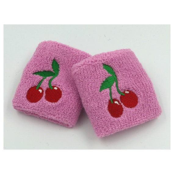 Cherry Bomb Wrist Sweatbands 2 Pack - Sporty Pink Red Cherry Fruit Accessory - Sporty Trendy Skater Wrist Cuffs - Sweet Aethletic Armbands