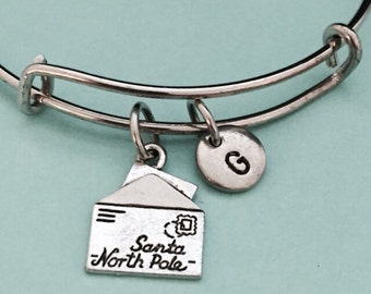 Santa letter bangle, santa charm bracelet, expandable bangle, charm bangle, personalized bracelet, initial bracelet, monogram