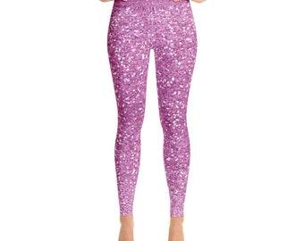 Purplish Pink Glitter Ombré Yoga Leggings