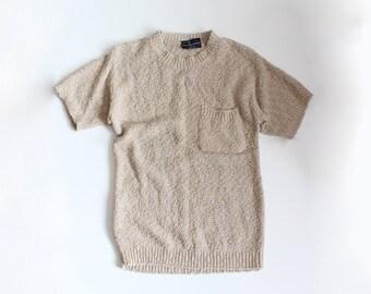 Vintage Mademoiselle Knitwear Beige Short Sleeve Sweater