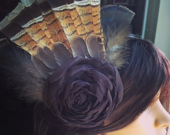 Tribal Headpiece Flowers and Feathers Fascinator
