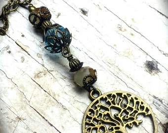 Brass Tree of Life Necklace, Tree of Life Pendant, Tree Charm, Double Strand Necklace, Glass Beaded Pendant, Brass Jewelry, Fall Jewelry