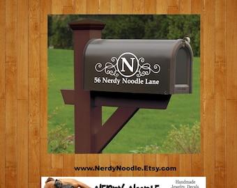 Monogram Mailbox Decal, Personalized Mailbox Decal, Address Decal, Mailbox Numbers, Mailbox Monogram, Mailbox Stickers, Custom Mailbox Decal