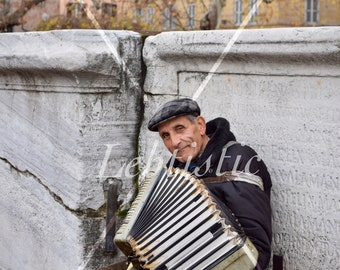 Music Never Age, Photography, Accordion, Music, Rome, Italy, old man, Accordionist , Digital Download