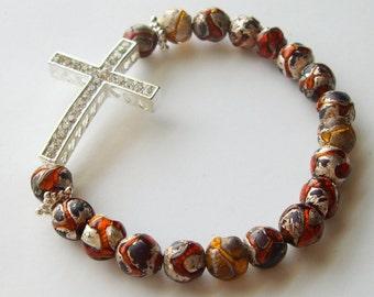 Cross Bracelet in Neutral Glass