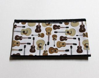 Wallet / card pattern black distressed leather guitars