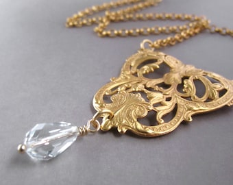 Royal Gold Necklace Victorian Filigree Jewelry Yellow Gold Plate Clear Crystal Drop