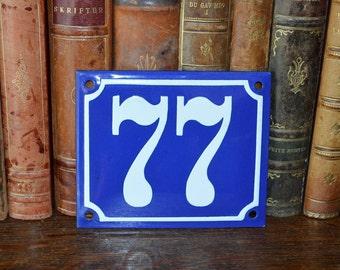 Vintage French Number 77 Sign Blue Enamel House Plaque