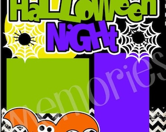 Scrapbook Page Kit Halloween Night Premade Scrapbook Pages 2 page 12X12 scrapbook page kit or premade layout