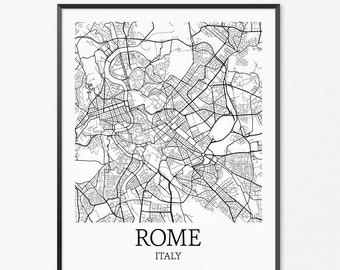 Rome Map Art Print, Rome Poster Map of Rome Decor, Rome City Map Art, Rome Gift, Rome Italy Art Poster