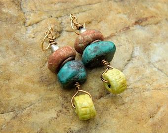 Stoneware Clay Bead Dangling Earrings