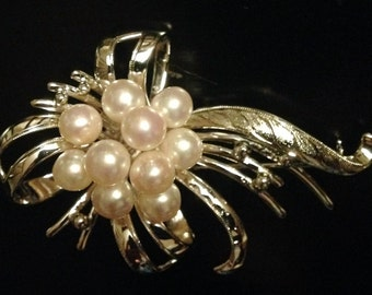 LARGE MOKIMOTO Silver and Pearl Brooch JAPANESE 16gr