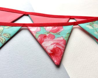 Mini floral bunting - turquoise pink bunting - Gift for mum - Floral pennant banner - Mini floral banner - Gift for mom