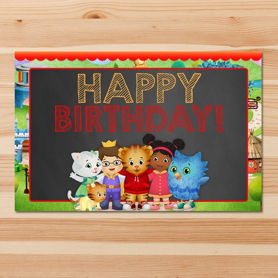 Daniel Tiger Party Placemats - Chalkboard Red - Daniel Tiger Place Settings - Boy Daniel Tiger Birthday Party - Daniel Tiger Printable