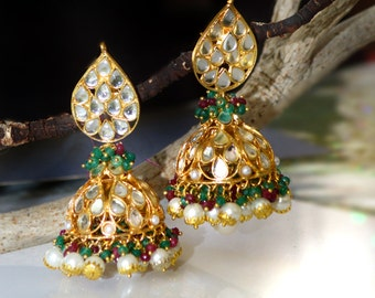 Gold Kundan jhumkas earings,Ruby Red & Green Onyx JHUMKA EARRINGS,Royal Kundan Jhumka,Large Dome earrings,Indian Jewellery by Taneesi