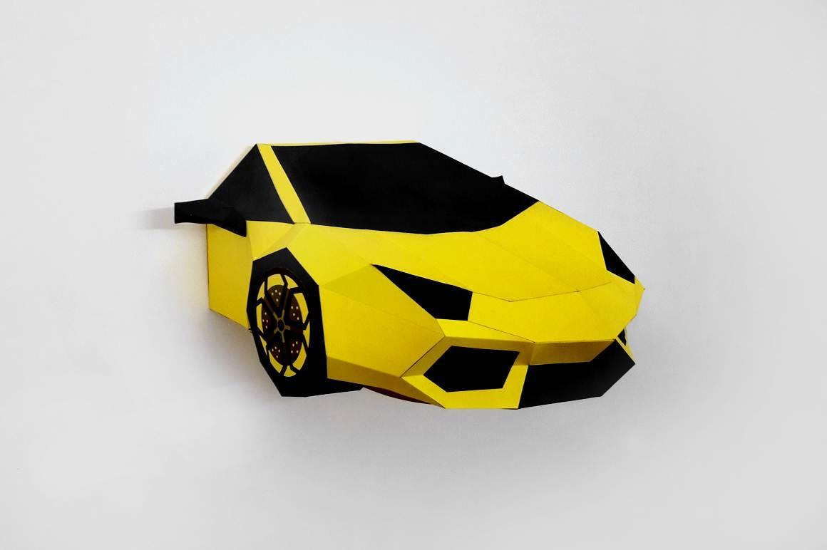 DIY papercraftsYellow Sports carPrintable carPaper carWall