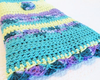 BLANKET SALE Bright Blossoms Hand Crocheted Baby Toddler Flowers 36 x 44  Lightweight Turquoise Orchid Purple Teal Light Green Stripes