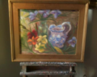 Still Life Original Oil on Canvas Daylillies and Staffordshire