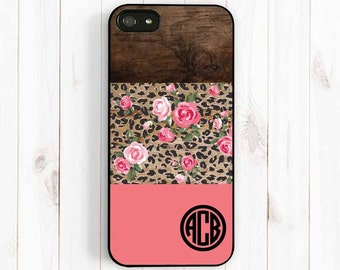 Leopard Rose Monogram Personalized iPhone 7 6 Case, Printed Wood iPhone 6 plus 5s 5c 5 4s, Note 3, Samsung Galaxy s5 s4 s3 Phone Cover Np40