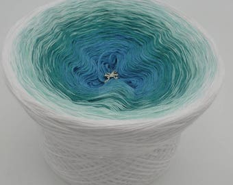 Lady Dee's Traumgarne - Aquamarin - White outside  - 4 ply gradient yarn, 4 colors, Color Changing Yarn