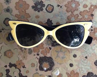 1950's True Colors Butter Yellow Cat Eye Sunglasses