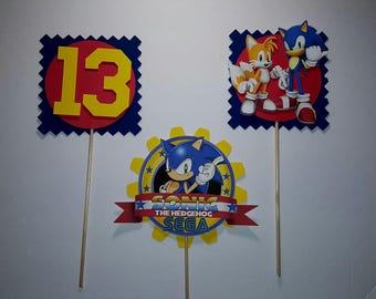 Sonic Centerpieces Toppers set of 3 .