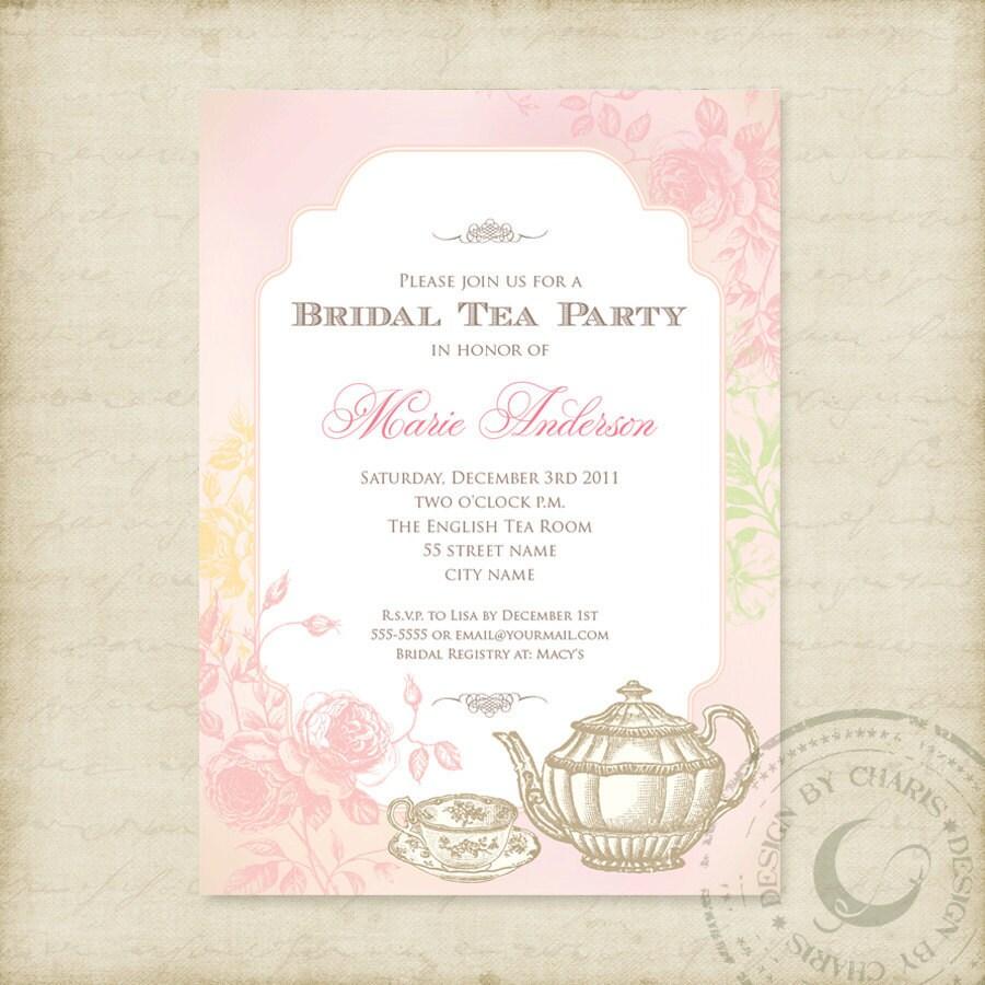 Shabby Chic Bridal Tea Party Printable Invitation