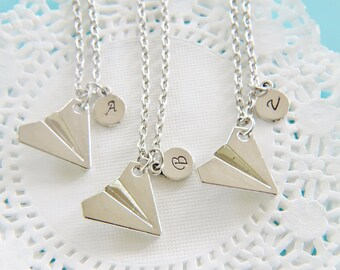 3 Best Friends Necklace Silver Paper Airplane Charm Necklace Traveler Gift, Travel Gift, Adventure Gift, Outdoors Gift,