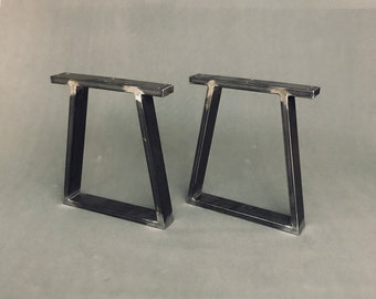 Set Of (2), Trapezoid Steel Bench Legs, Metal Coffee Table Legs, Furniture Legs, Bench Base, Industrial, Loft