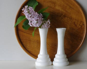 2 White Milk Glass Vases - Wedding Bud Vases - Milkglass Collection 6 inch Tall Vases  - Wedding Decor Instant Collection