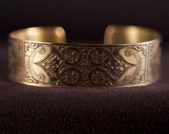Celtic Art Cuff Etched in Brass from The Macregol Gospels, Handmade in Ireland.