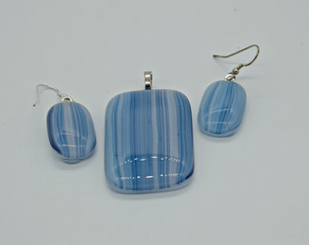 Fused glass pendant and earring set ocean blues