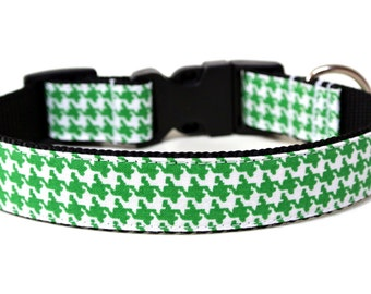 "Houndstooth Dog Collar 3/4"" or 1"" Green Dog Collar Classic Dog Collar"