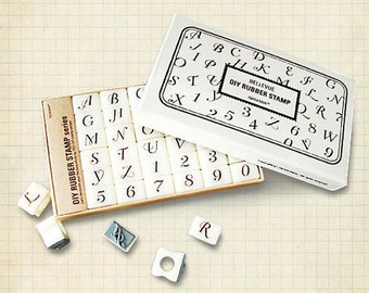 Calligraphy Alphabet Rubber Stamps Uppercase letters (36 stamps)  HS005