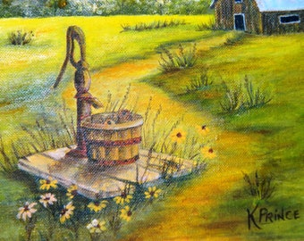 Vintage Signed Oil Painting by K. Prince, Country Road, Water Well, Pump, Daisies, Brown Eyed Susans, Barn, Farm, Summer Day