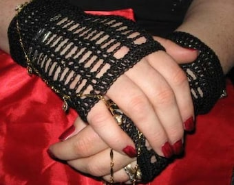 Crochet Lace Fingerless Gloves in Black with Vintage Buttons Steampunk Victorian