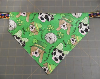 St Patrick's Day Pet Bandana - Dogs with Shamrocks and Wearing of the Green Over the Collar Scarf - Pet  Bandana - Pet Accessories