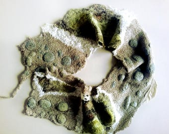 Greys and Grass Green Textured Felt Scarf - Winter Spring Scarf Eco Fashion