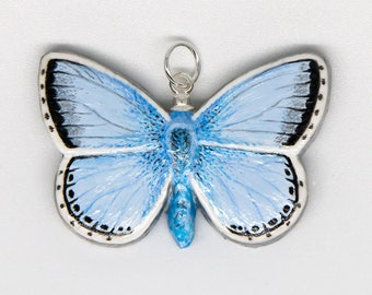 Butterfly Pendant - Chalkhill Blue Handmade Hand-painted