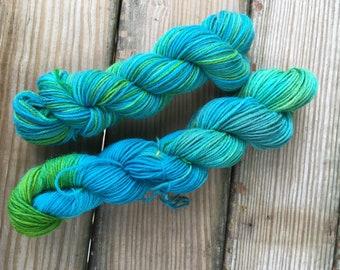 Emerald coast -hand dyed superwash wool sick tarn