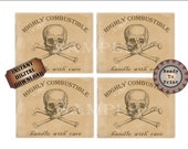 """4 Bottle Labels Printable ~ 3.5X4.5"""" Skull & Crossbones """"Highly Combustible. Handle with Care"""" Pirate Gold Mine Wild West Party Decorations"""