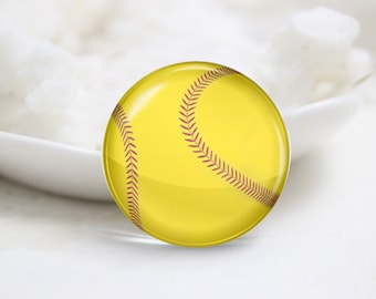 Softball Photo Glass Cabochons (P3886)