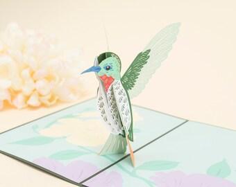 Hummingbird 3D Pop up Card, Birdwatcher Hummingbird Pop up Card, Hummingbird Good Luck Card, Birder Card, 3D Bird Pop up Card, Lovepop