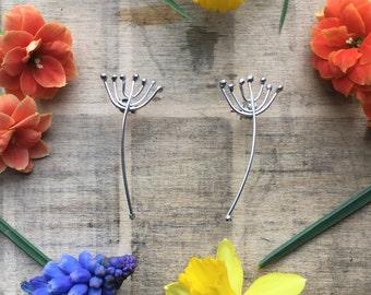 Sterling silver dandelion earrings, flower earrings, botanical earrings, dandelion studs, silver stud earrings, handmade earrings
