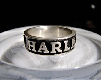 Biker Ring - Harley Davidson Ring - Your Name / Motorcycle Ring / Mens Ring / Vintage Ring / Harley Davidson Jewelry / Personalized Ring