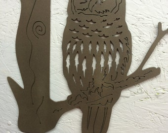 Owl on branch metal art