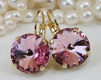 Pale Pink Crystal Earrings Light Pink Drop Earrings Valentines Gift Light Rose Swarovski Earring Bridesmaids Gift,14mm,Gold,Light Rose,GE106