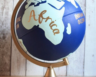 """Hand Painted Globe with Continents   10"""" Diameter   World   Wedding Guestbook   Various Colours   Home Decor   Travel   Wanderlust   Gift"""