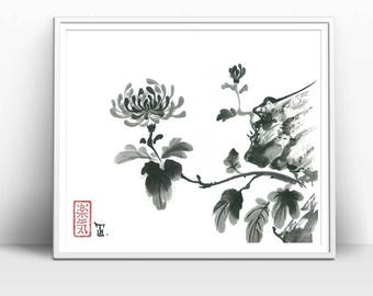 """Print """"Chrysanthemum"""" in Traditional Japanese Art Style, Black and White, Painted in Sumi-e style, Great Minimal, Asian Art Design, 11x8.5"""